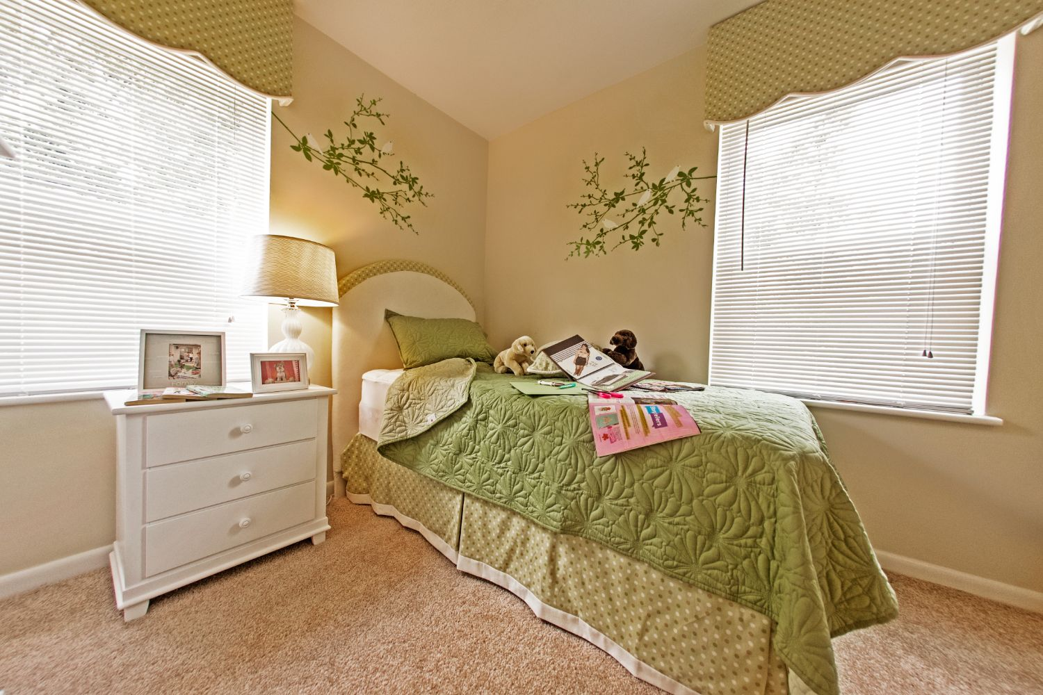 Comfortable bedroom with painted walls